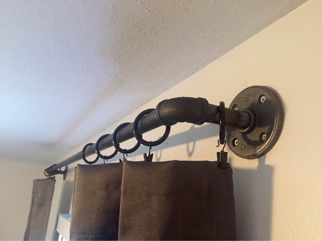 Industrial pipe curtain rod/west elm curtain rod hack | blush and batting blog