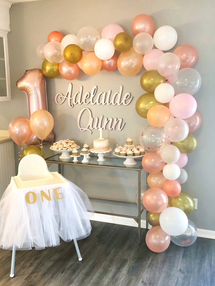 Adelaide's Pink and Gold First Birthday With Balloon Garland | Blush and Batting Blog