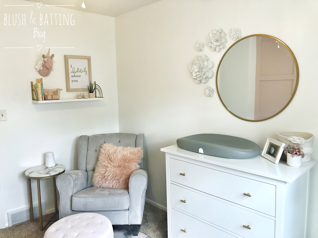 Blush and Batting Blog | Baby Girl Pink, Gold and Gray Unicorn Nursery Tour | Ikea Hemnes Dresser Changing Table | Gold Round Mirror | Hatch Baby Grow Scale | Delta Children Emma Rocker